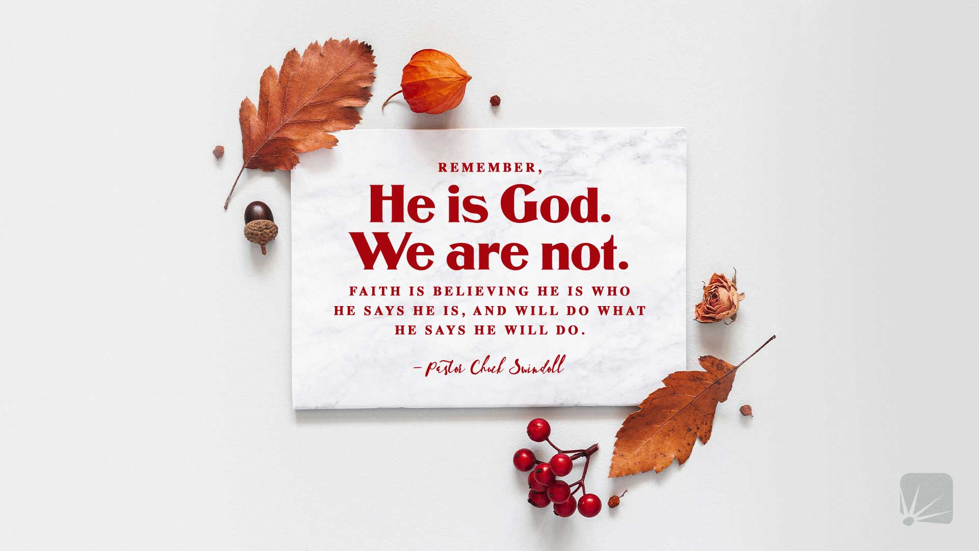 Remember, He is God. We are not. Faith is believing He is who He says He is and will do what He says He will do. —Pastor Chuck Swindoll