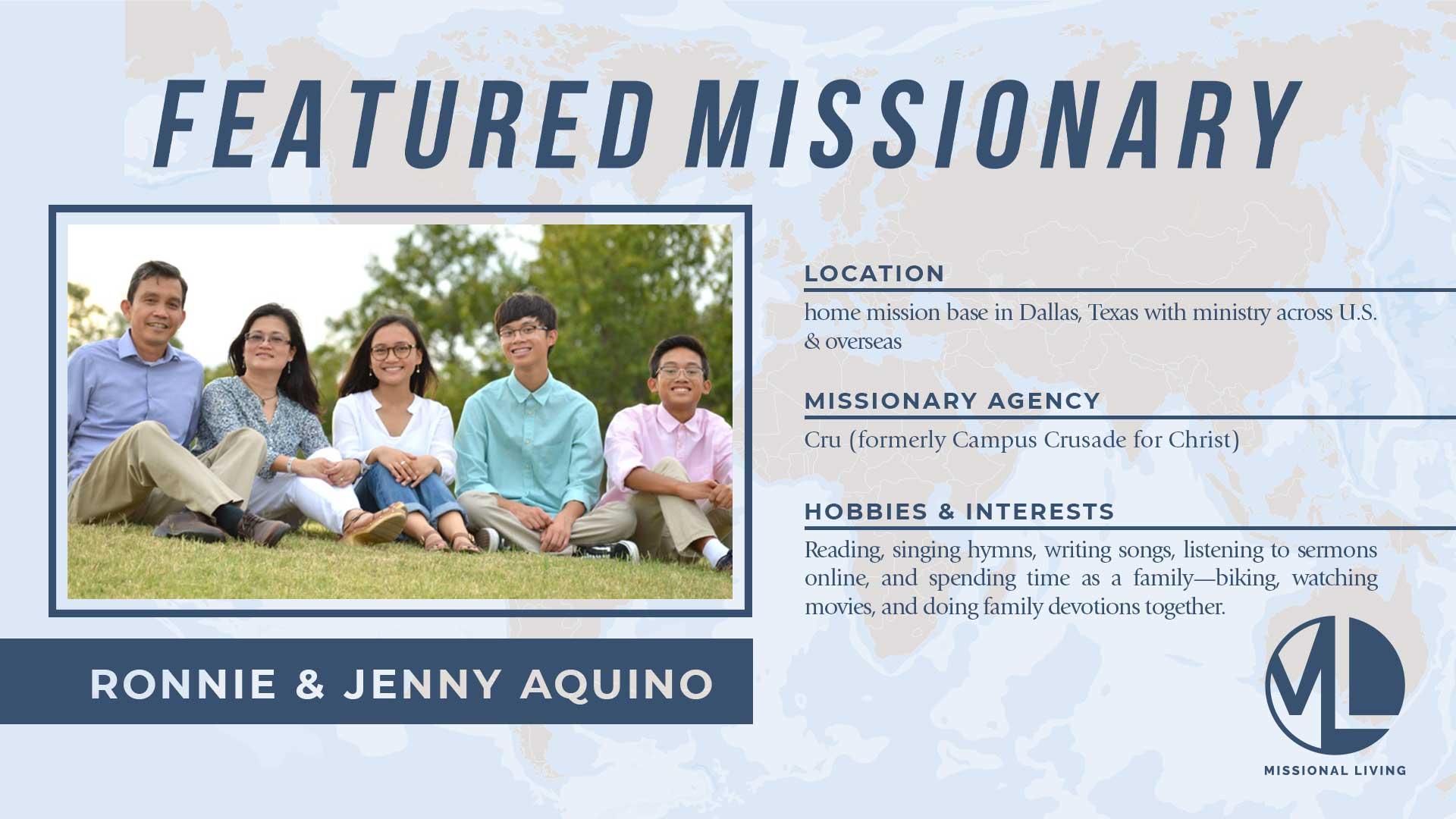 Featured Missionaries: Jenny & Ronnie Aquino