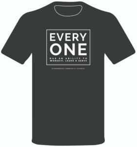 """T-Shirt: """"Every One has an ability to worship, learn, and serve"""""""
